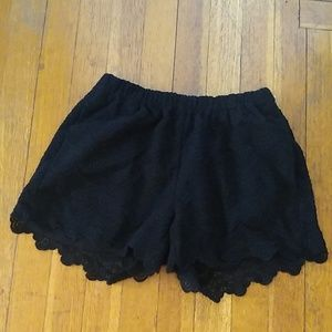 Madewell 1937 Lace Scallop Shorts Black Size Small